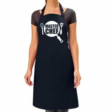 Master chef barbeque keukenschort / keukenschort navy blauw dames