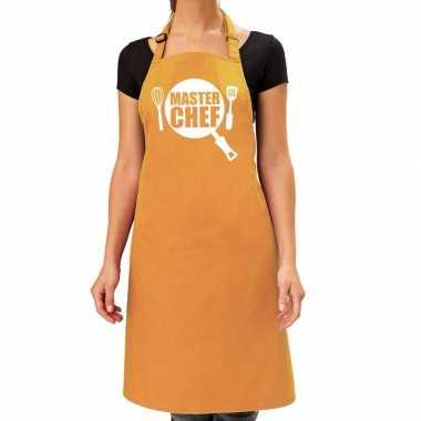 Master chef barbeque keukenschort / keukenschort oker geel dames