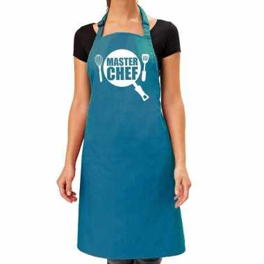 Master chef barbeque keukenschort / keukenschort turquoise blauw dame