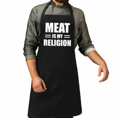 Meat is my religion bbq keukenschort / keukenschort zwart heren