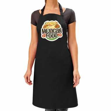 Mexican food keukenschort / keukenschort zwart dames