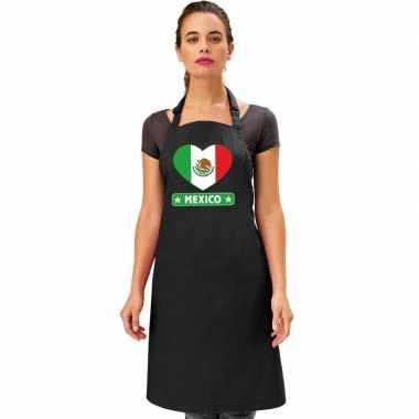 Mexico hart vlag barbecuekeukenschort/ keukenschort zwart