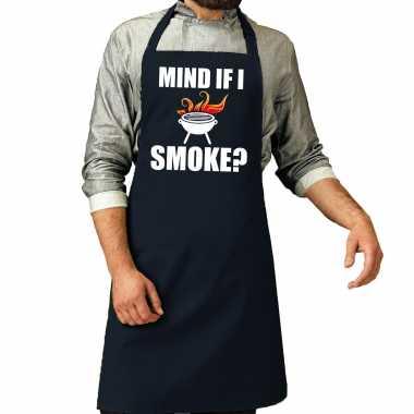 Mind if i smoke barbecuekeukenschort heren navy