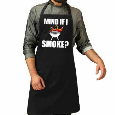 Mind if i smoke barbecuekeukenschort heren zwart