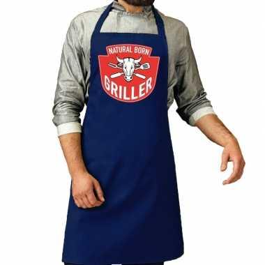 Natural born griller barbecue keukenschort / keukenschort kobalt blau