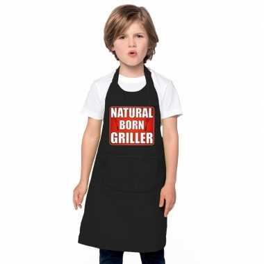 Natural born griller barbecuekeukenschort/ keukenschort zwart kindere