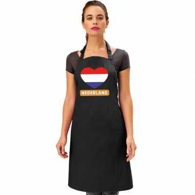 Nederland hart vlag barbecuekeukenschort/ keukenschort zwart
