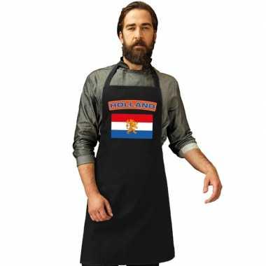 Nederland vlag barbecuekeukenschort/ keukenschort zwart volwassenen