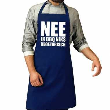 Nee niks vegetarisch barbecuekeukenschort/ keukenschort kobalt heren