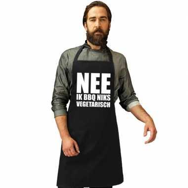Nee niks vegetarisch barbecuekeukenschort/ keukenschort zwart heren