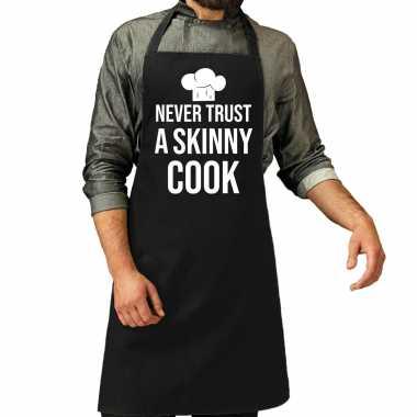 Never trust a skinny cook barbecue / bbq keukenschort zwart heren