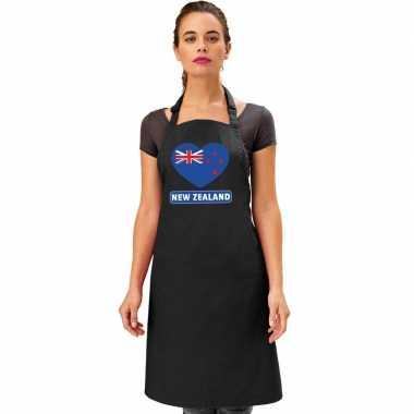 Nieuw zeeland hart vlag barbecuekeukenschort/ keukenschort zwart