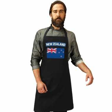 Nieuw zeeland vlag barbecuekeukenschort/ keukenschort zwart volwassen