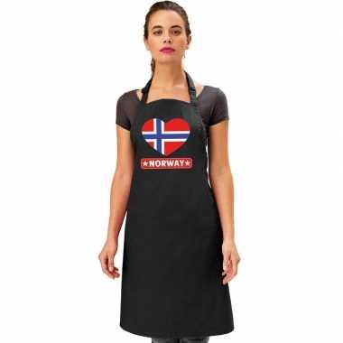 Noorwegen hart vlag barbecuekeukenschort/ keukenschort zwart