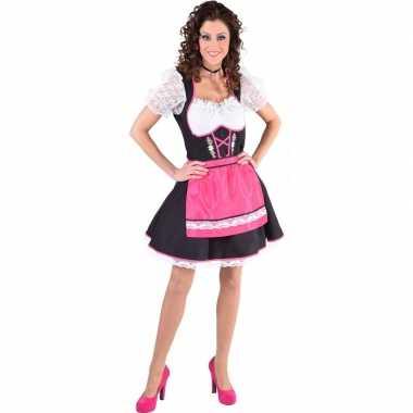 Oktoberfest dirndl jurk zwart/wit fuchsia roze keukenschort dames