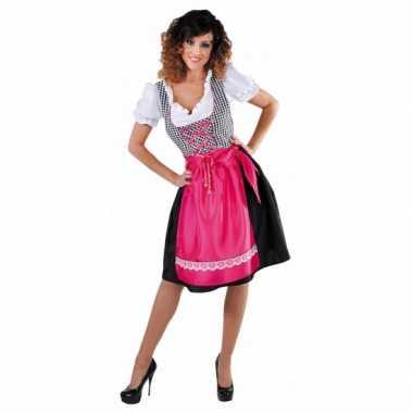 Oktoberfest luxe zwarte dirndl roze keukenschort