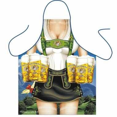 Oktoberfest sexy keukenschort tiroler dame bierpullen