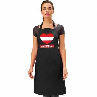 Oostenrijk hart vlag barbecuekeukenschort/ keukenschort zwart