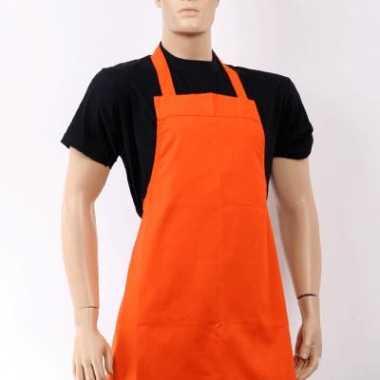 Oranje barbecue keukenschort