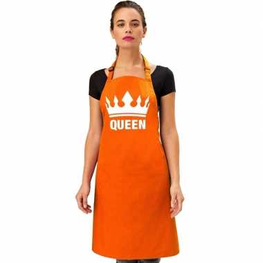 Oranje queen keukenschort/ bbq keukenschort kroon heren