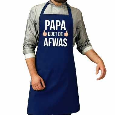 Papa doet afwas cadeau katoenen keukenschort blauw heren