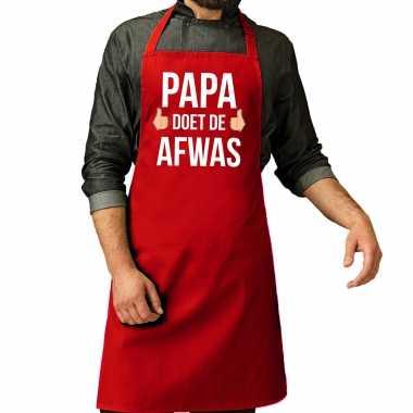 Papa doet afwas cadeau katoenen keukenschort rood heren