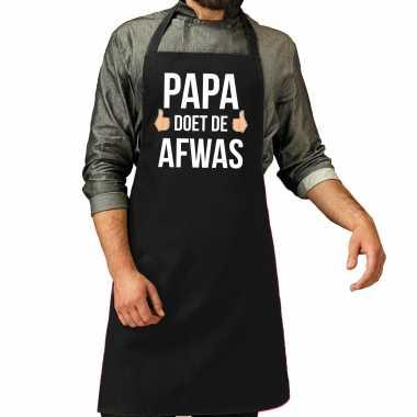 Papa doet afwas cadeau katoenen keukenschort zwart heren
