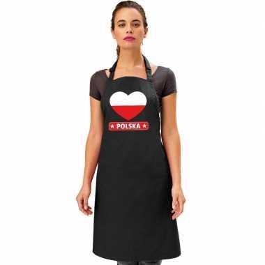 Polen hart vlag barbecuekeukenschort/ keukenschort zwart