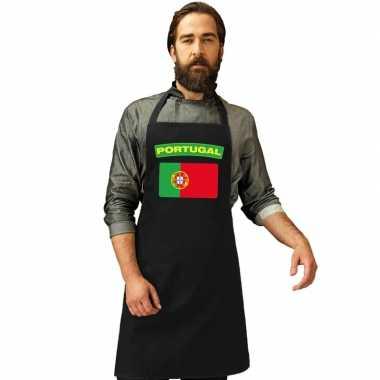 Portugal vlag barbecuekeukenschort/ keukenschort zwart volwassenen