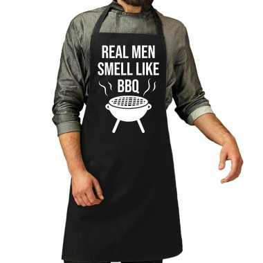 Real men smell like barbecue / bbq keukenschort zwart heren