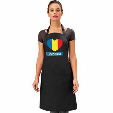 Roemenie hart vlag barbecuekeukenschort/ keukenschort zwart