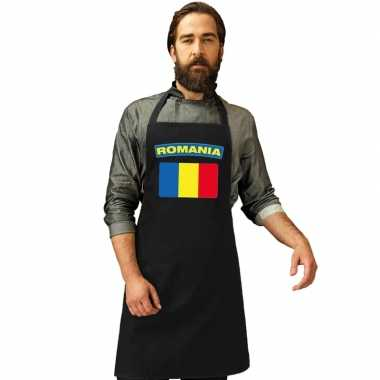 Roemenie vlag barbecuekeukenschort/ keukenschort zwart volwassenen