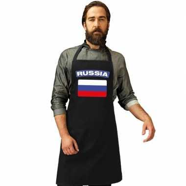 Rusland vlag barbecuekeukenschort/ keukenschort zwart volwassenen