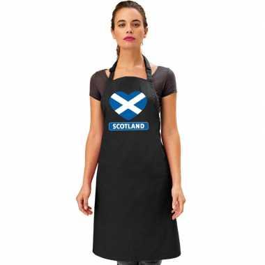 Schotland hart vlag barbecuekeukenschort/ keukenschort zwart