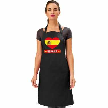 Spanje hart vlag barbecuekeukenschort/ tapas keukenschort zwart