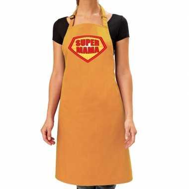 Super mama barbeque keukenschort / keukenschort oker geel dames