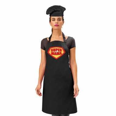 Super mama keukenschort zwart dames zwarte kokmuts