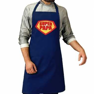 Super papa barbeque keukenschort /keukenschort kobalt blauw heren