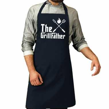 The grillfather barbecue / bbq keukenschort navy blauw heren