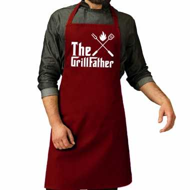 The grillfather barbecue / bbq keukenschort rood heren