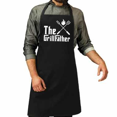 The grillfather barbecue / bbq keukenschort zwart heren