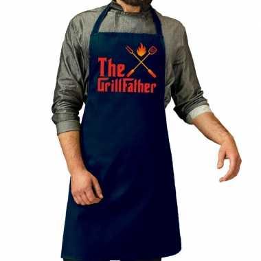 The grillfather barbecue keukenschort / keukenschort navy heren