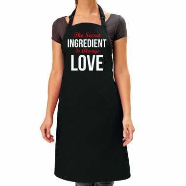 The secret ingredient cadeau katoenen keukenschort zwart dames