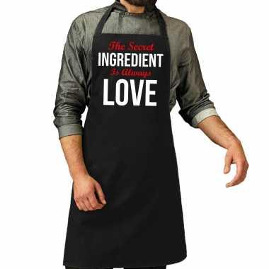The secret ingredient cadeau katoenen keukenschort zwart heren
