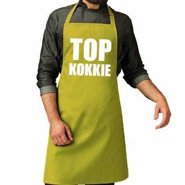 Top kokkie barbeque keukenschort / keukenschort lime groen heren