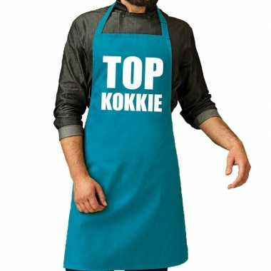 Top kokkie barbeque keukenschort / keukenschort turquoise blauw heren