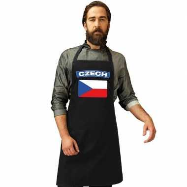 Tsjechie vlag barbecuekeukenschort/ keukenschort zwart volwassenen