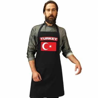 Turkije vlag barbecuekeukenschort/ keukenschort zwart volwassenen