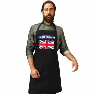 United kingdom vlag barbecuekeukenschort/ keukenschort zwart volwasse