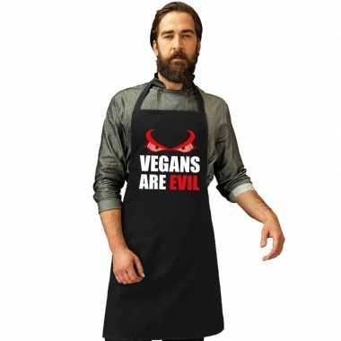 Vegans are evil barbecuekeukenschort/ keukenschort zwart heren